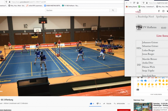 Badminton 2. Bundesliga – vorerst letzter Spieltag: Hofheim mit Punkten und Live im Netz